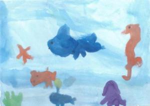 Acvariu şi peşte cu bec. Lucrare de Radu Hera (2009)