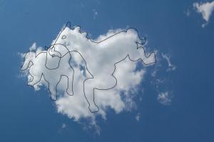 Cai. Desen pe nori de Tudor.