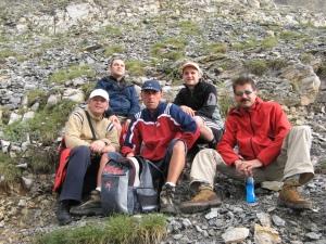 Prietenii mei, cu care am urcat Munții Olimp: Tibi, Oc, Dan Fîntănă și Adi