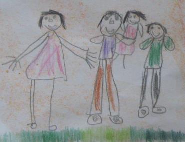 Familia de sub curcubeu (detaliu) - desen de Carina (6 ani)