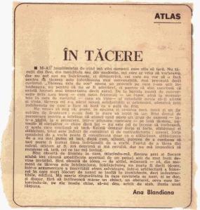 Text de Ana Blandiana, scris la rubrica Atlas în România literară (cred, dar nu sunt sigur) în toamna anului 1986