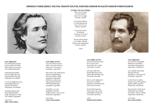 """Poezia """"Dintre sute de catarge"""" (MIhai Eminescu), tradusă de patru poeti unguri. Email trimis de ICR Budapesta la mai multe sute de persoane, cu ocazia zilei lui Eminescu."""