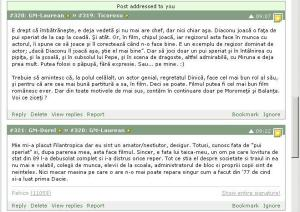 Printscreen al unei discutii despre filmul Filantropica (Nae Caranfil), care a avut loc pe forumul Pahico, în hattrick.org (2)