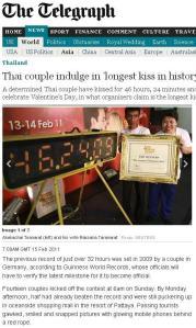 Autorii celui mai lung sărut ever. Captură de pe telegrapf.co.uk