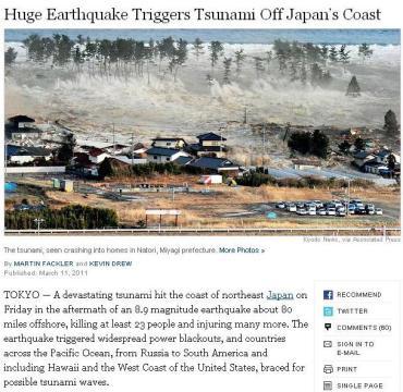 Fotografie făcută chiar înainte de tsunami, luată de pe NYT (original - Kyodo News, via AP)