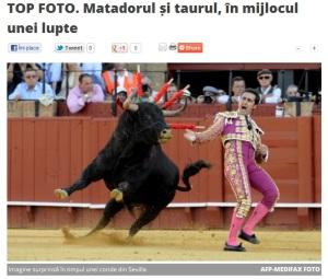 Lupta dintre matador și taur