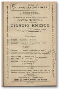 Afiş al unui concert Enescu în Italia