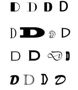 Litera D, diferite fonturi (alese de Călin Hera)