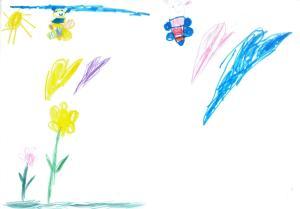 Desen cu flori, soare  şi fluturi