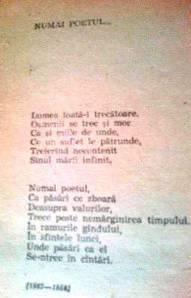 """MFC. Facsimil aproape ilizibil după poezia postumă care închide volumul """"Poezii"""" de Mihai Eminescu, apărut la editura Eminescu în anul 1984"""