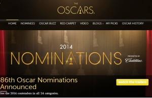 Printscreen prima pagină a site-ului oscar.go.com