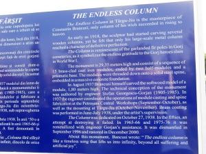 Descrierea coloanei infinitului, Foto: Călin Hera