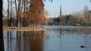 Vedere din București. Biserica din Parcul IOR, văzută peste lac atunci când încolțesc sălciile. Foto: Calin Hera