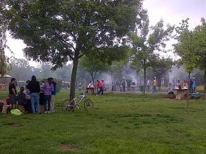 Vedere din Bucureşti. Oameni şi grătare de 1 Mai în Parcul Copiilor, colţ cu Tineretului. Foto cu telefonul: Călin Hera