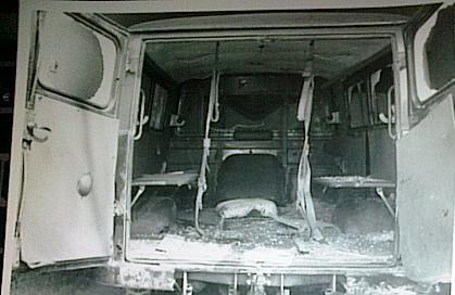 Ambulanţa transnistreană ciuruită într-un schimb de focuri care a avut loc în apropiere de Grigoriopol în data de 29 martie 1992, ora 2:30. Foto: Sorin Stanciu / Revista NU