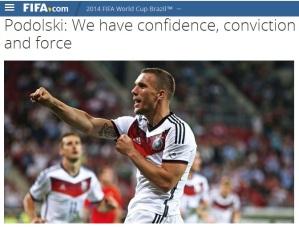 """Podolski anunţă că Germania are """"încredere, convingere şi forţă"""". Sursa foto: fifa.com"""