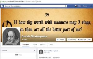 Pagina de Facebook Sonete Shakespeare