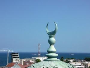 Moscheea Carol din Constanţa, vedere de la nivelul acoperişului. Foto: Călin Hera