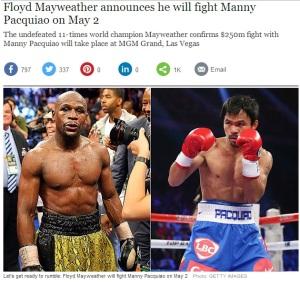 Floyd Mayweather şi Manny Pacquiao, gata să-şi tragă nişte pumni. Sursa: telegraph.co.uk (printscreen)