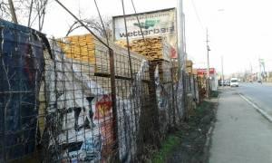 Vedere din Bucureşti. Bărbosul din Zilele Babelor, de la staţia CFR Progresul - văzut dintr-o parte. Foto cu telefonul: Călin Hera (mfc)