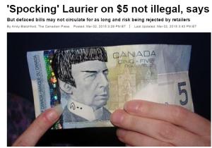 Bancnota canadiană de 5 dolari, spockăită de fanii Star Track. Sursa: Facebook