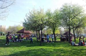 Vedere din Bucureşti. La picnic în parc, de Paşte. Foto cu telefonul: Călin Hera