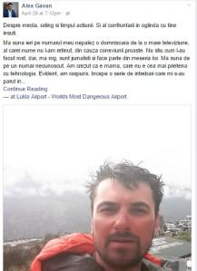 Postarea de marți a lui Alex Găvan a adunat într-o  zi și două nopți 1.518 like-uri, 48 de comentarii și 619 share-uri