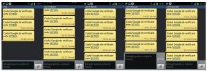 Şir de SMS-uri cu codul de verificare de la Google, pentru gmail.