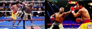 Vedere din Las Vegas. Doi pumni teribili, dați, respectiv încasați pe rând de Floyd Mayweather și Manny Pacquiao. Sursa: twitter