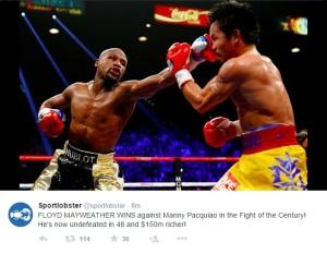Vedere din Las Vegas. Floyd Mayweather îl pocnește pe Manny Pacquiao. Sursa: twitter