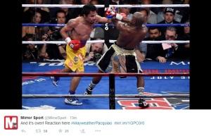 Vedere din Las Vegas. Manny Pacquiao îl pocnește pe Floyd Mayweather. Sursa: twitter