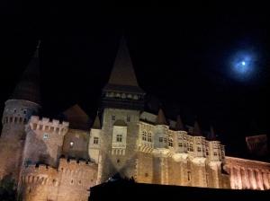 Vedere din Hunedoara. La ieşirea din Castelului Corvinilor, după Ida, ultimul film din festival. Foto cu telefonul: Călin Hera