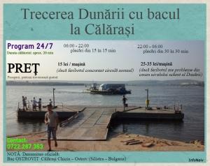 Date despre trecerea Dunării cu bacul la Călărași, valabile în luna iulie 2015. Sursa: InfoNaiv