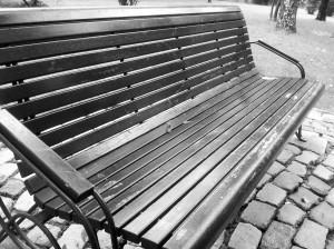 Vedere din București. Mobilier urban în Parcul IOR. Parc. Bancă.  Foto cu telefonul: Călin Hera