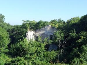 Ruina unei construcții vechi, sănătoase, din piatră, din apropierea Castelului Reginei Maria. Foto cu telefonul: Călin Hera