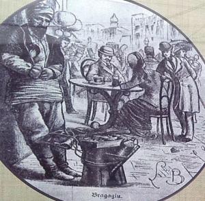 Bragagiu. Fotografie de epocă găsită în vitrina prăvăliei cu bragă din Craiova. Foto cu telefonul: Călin Hera