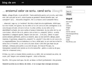 Blogul de om al lui Alin Fumurescu. Printscreen