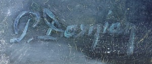 Semnătură pe un tablou. Foto cu telefonul: Călin Hera