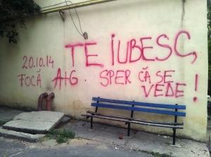 Declarație de dragoste pe un perete din Craiova. Foo cu telefonul: Călin Hera