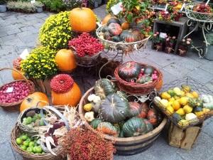 Vedere din Viena. Florărie lângă Stephansdom. Buchete cu legume de sezon. Foto cu telefonul: Călin Hera
