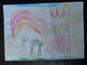 O familie fericită. Desen de Carina