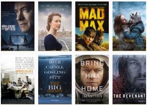 Afișele filmelor nominalizate la Premiul Oscar 2016 pentru cel mai bun film. Sursa: oscar.go.com