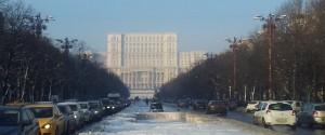 Vedere din București. Palatul Parlamentului în miez de iarnă. Foto: Călin Hera
