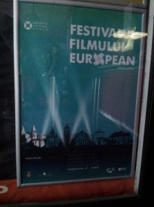 Afișul Festivalului Filmului European, ediția Hunedoara, fotografiat la Cinema Pro. Foto: Calin Hera