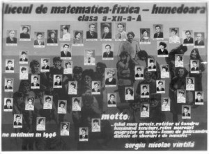 Tabloul de absolvire. Anul 1986. Hunedoara, Liceul de Matematică-fizică