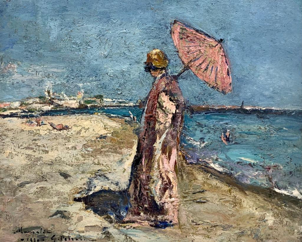 Gheorghe Petrașcu_Femeie în roz pe malul mării (1930)